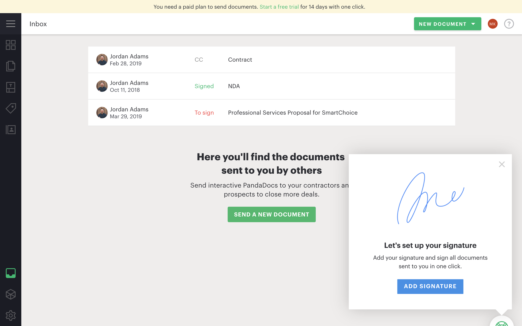 Recipients can review and sign all deal documents in one place: their inbox